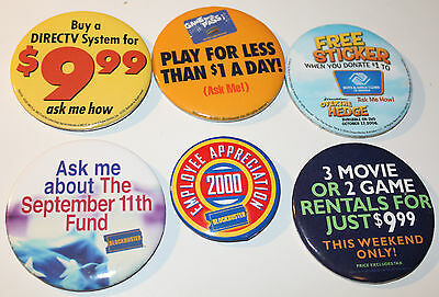 6x Blockbuster Video DirecTV Employee Collectible Pinback Pin Button