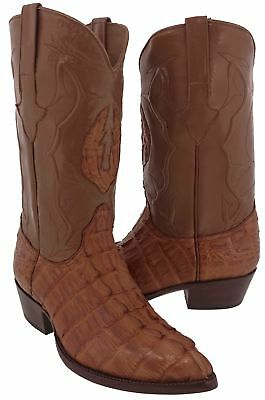 Mens Cognac Brown Real Crocodile Alligator Tail Leather Cowboy Boots Western Toe