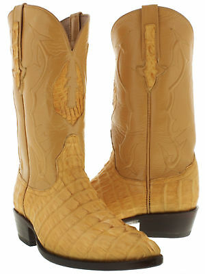 Mens Yellow Butter Real Crocodile Alligator Leather Cowboy Boots Western J Toe