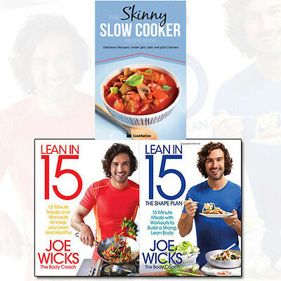 Joe Wicks Lean in 15 Collection 3 Books Set The Skinny Slow Cooker Recipe Book