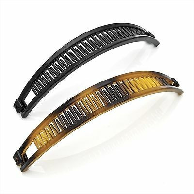 Set of 2 Black and Tortoise shell Colour Plastic Hair Banana Clips Combs 16cm
