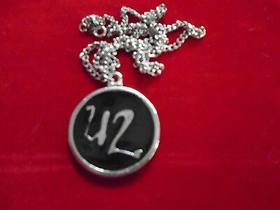 "U2 / Cool Jewelry Necklace / vintage 90's / Logo / New cond. / 1 1/4"" round"