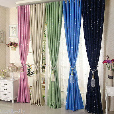 1PC Stars Blackout Lined Grommet Panel Window Curtains Bedroom Valance Drapes