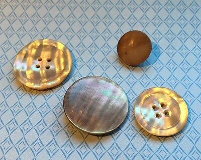 Vintage 4 Mother Of Pearl Shell Buttons PO-4