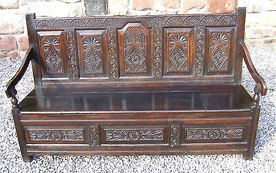 Antique Victorian Carved Oak Box Settle Bench Seat with Storage / Shoe Storage