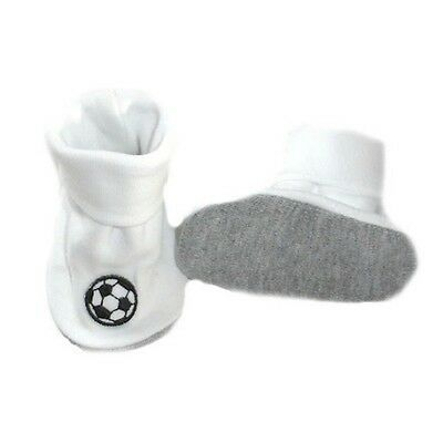 Baby Boys' White Crib Shoes with Soccer Balls, Bootie Socks Preemie and Newborn