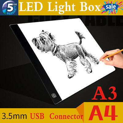 Ultra Thin A3 A4 LED Board Craft Tracing Drawing Stencil Table Pad Light Box New