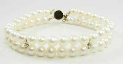 14K Yellow Gold Double Strand 6mm Cultured Pearls Bracelet Diamond Accent