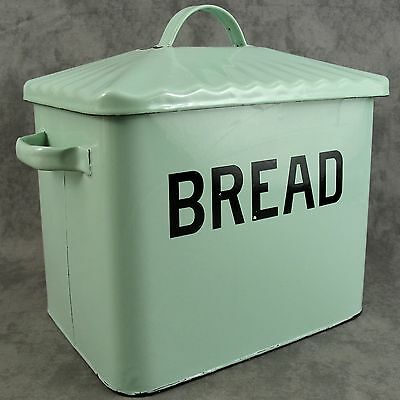 LARGE JADEITE GREEN BREAD BOX ENAMEL ON STEEL w/ BLACK LETTERING