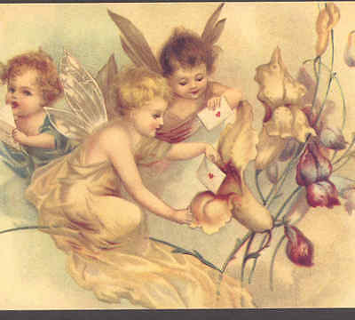 """Fairies Send Love Letters In """"snapdragon"""" Post Office,clapsaddle Repro Postcard"""
