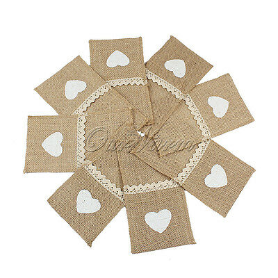 50/100x Burlap Heart Lace Tableware Pouch Cutlery Holder Wedding For Decorations