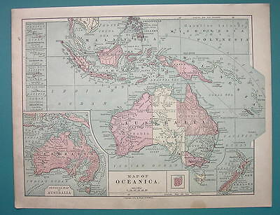 1875 MAP COLOR - AUSTRALIA & Oceania Pacific Islands