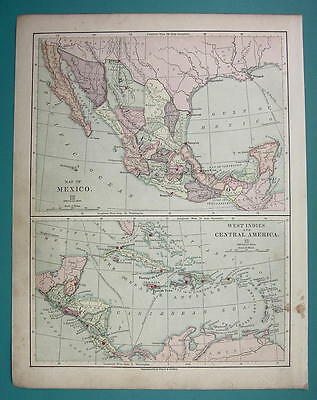 1875 MAP COLOR - MEXICO Central America Carribean Islands