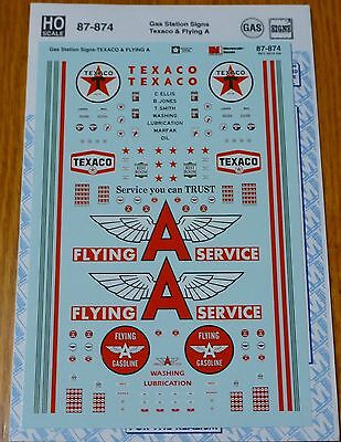 Microscale Decal HO #87-874 Gas Station Signs - Texaco and Flying A (Decal Set)
