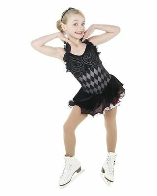 NEW COMPETITION SKATING DRESS Elite Xpression Black Silver 1424 SIZE AM MEDIUM