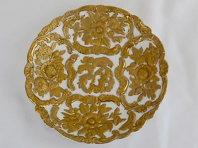 MEISSEN Style Raised Embossed Gold Floral Cabinet Plate