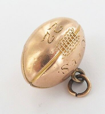 .rare 1922 10Ct Gold Largish Usa American High School Engraved Gridiron Ball Fob