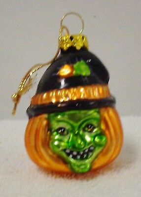 Blown Glass Witch Ornament (has hat and green face) Pre-owned