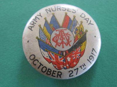 Army Nurses Day 1917 WW1 Button Day Pinback Badge