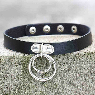 Women's Classic Punk Rock Double O RING Leather Collar Choker Sexy Necklace Hot