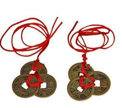 6X Good Lucky Chinese Coins I-Ching Feng Shui Fortune Wealth Brass Marriage Coin