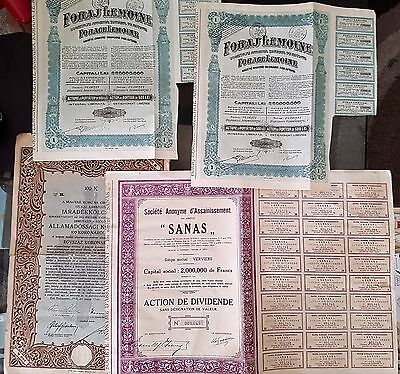 Lot of 4 Old Antique Share Stock Certificates