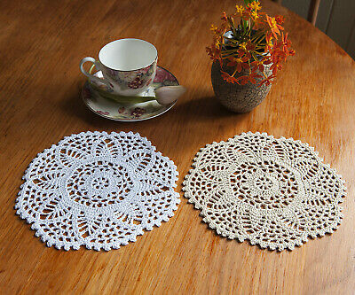 Cotton Hand Crochet Lace Doily Place Mat Doilies Round 20CM in 4 Colours FP04