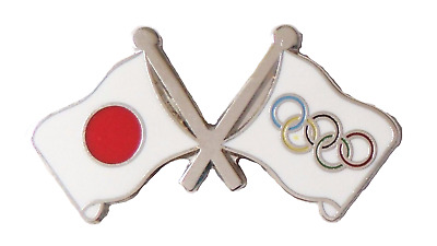 Olympic Games 2020 and Japan Friendship Flag Pin Badge