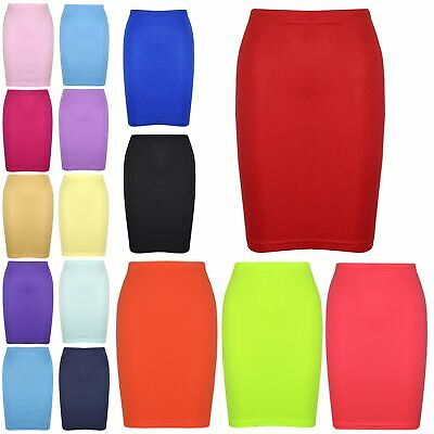 Kids Girls Skirt Plain Colour School Fashion Dance Pencil Skirts Age 5-13 Years
