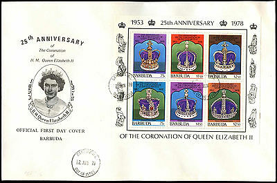 Barbuda 1978 QEII, 25th Anniv Of Coronation M/S FDC First Day Cover #C35112