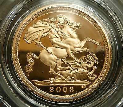 2003 Gold Royal Mint Proof Half Sovereign Solid 22Ct Boxed As Issued
