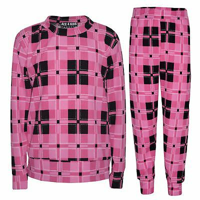 Girls Tracksuit Kids Pink Checked Print Lounge Suit Top Bottom Joggers 7-13 Yr