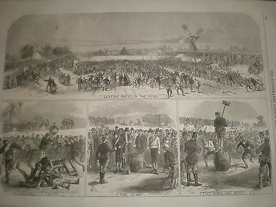 Ice Skating races on the Cambridgeshire Fens 1867 old print ref Y4