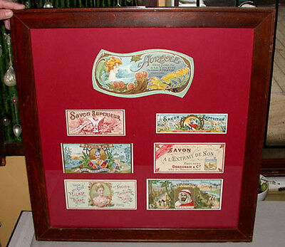 Antique Original 1920's -30's Framed Mounted Advertising Soap Labels