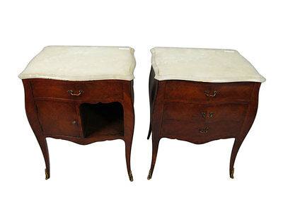 Beautiful Pair of French Louis XV Style Nightstands with Marble Tops - 11330