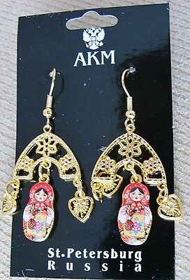 Russian traditional gold color metal earrings dolls old style. Made in St Peters