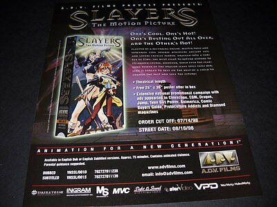 SLAYERS Hot...Cool...Busting Out... Vintage ANIME Promo Ad mint condition