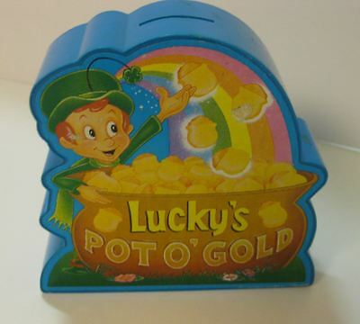 LUCKY CHARMS CEREAL ADVERTISING Pot of Gold Bank Leprechaun