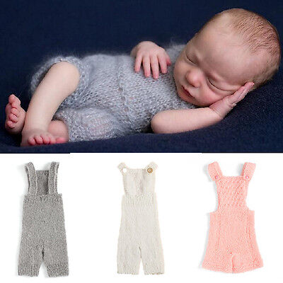 Baby Girl Boy Knitted Wool Strap Jumpsuit Crochet  Rompers Overall Pants Outfits