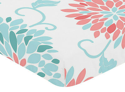 Crib Toddler Fitted Sheet For Sweet Jojo Turquoise & Coral Bedding Set - Floral