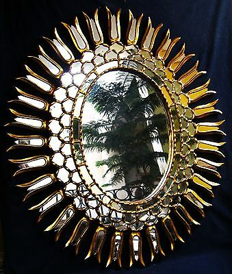 GREAT ANTIQUE WONDERFUL HAND CARVED GILT WOOD MIRROR  19th