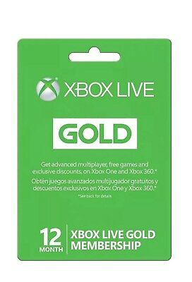 12 Month Gold Membership Xbox 360 / Xbox One Will Work Usa And Worldwide