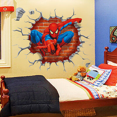 Fashion 3D Spiderman Decals Wall Stickers Wallpaper Removable Kids Boy Bedroom