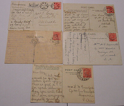 South Australia, Five QV period postcards with stamps attached.