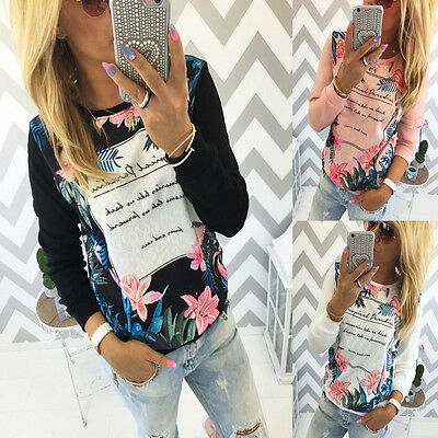Women Ladies Casual Floral Print Shirt Long Sleeve Cotton Blouse Tops T-shirt