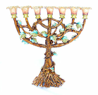 "Enameled and Jeweled Jewish Menorah tree of Life 7 branches Judaica H-8"" brown"