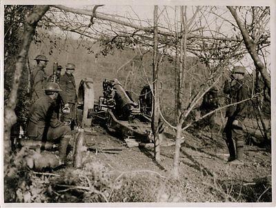 World War One Ww1 Original Photo - A Battery In Action Italy