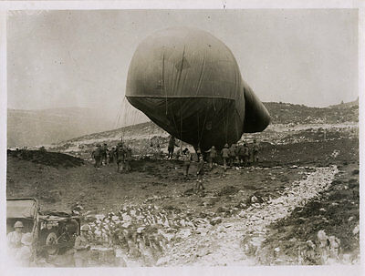 World War One Ww1 Original Photo - A Spotting Balloon In The Mountains Italy