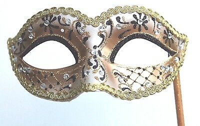 Glittering Black Gold Jewelled Venetian Masquerade Party Ball Mask On A Stick