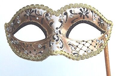 Glittering Black Gold Jewelled Venetian Masquerade Party  Mask On A  Hand Stick